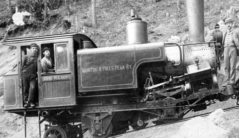 Black and white image of a train