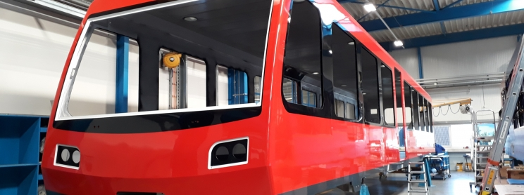 Cog Railways red car being built