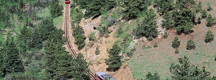 A train going through a forest in Colorado Springs
