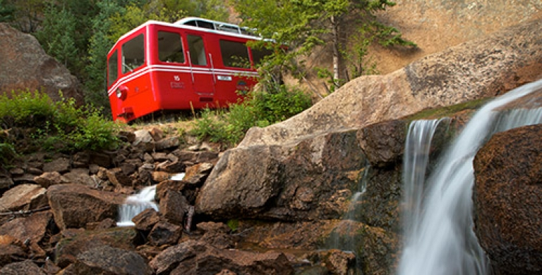The Cog Railway train going down the Pikes Peak Mountain